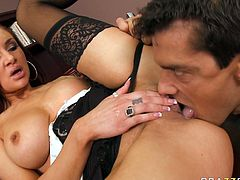 Watch this hot mulatto babe in her sexy black panties getting banged really hard by her colleaugue at the work in Brazzers Network sex clips.