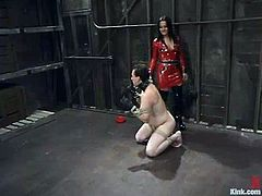 Charming Sandra Romain is in BDSM session again! She is a cruel bitch and she is going to make this dude feel so fucked up! Amazing!