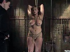 Big-breasted bitch Bella Rossi is having fun wiht Maestro in a basement. She gets bound and humiliated by the man and then enjoys having his schlong in her twat.