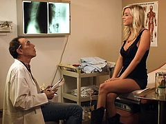 Her physician tells her about an experimental pill, a new Viagra but the sexy blonde doesn't need such things, although she takes them in her purse. After lunch with her guy she goes to the bathroom and he takes a pill from her purse, not knowing that that's not for his teeth pain. Yeah things get heavy now!