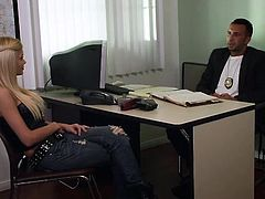 The blonde and her colleague had a hard day of work but in the end, it all pays out. They finished their job and now relax a bit in the office. In order to relax even more the blonde makes him an offer hard to refuse, her sexy ass. She pulls down her jeans, gets that cute booty licked and then her pussy fucked.