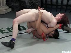 Redhead White chick does not have any chance to win because this Asian chick knows Kung fu. That is why Claire has to lick a pussy and take big dildo in her vagina.