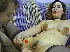 Nasty girl in stockings sits on guy's face and then gives a blowjob. Later on she gets fucked deep in her soaking pussy.