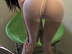 Addison the lovely amateur babe makes hot solo show. She puts pantyhose on and shakes her nice booty.