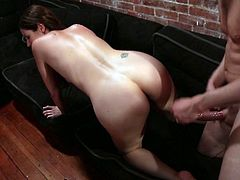 This spoiled brunette makes sure to let us know with certainty that this is not her first time on camera doing porn. Horny stud tells this bitch to get down on all fours so he can pound her fanny from behind. He drills her fanny ruthlessly in and out. Then he bangs her in sideways position.