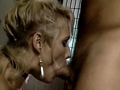 Light haired bitch with huge tits Debi Diamond licked lots of wet shave cunts. Later on that day she provided her cocky master with nice blowjob.