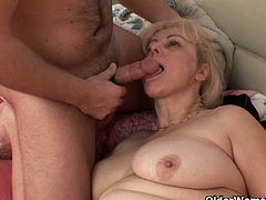 Watch this lusty granny in this hot video where she sucks her son's best friend while he was sleeping.This chubby granny Milena is really a cock hungry slut.Enjoy this blonde granny getting her ass drilled hard till he cums on her face and mouth.