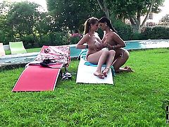 Sheila Grant with huge jugs and smooth bush gets used like a fuck toy by horny lesbian LaTaya Roxx