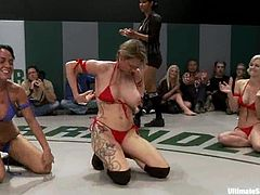Group of horny chicks fight fiercely in a Ultimate Surrender battle. Then the losing girls lick pussies and also get fingered by the winning chicks.