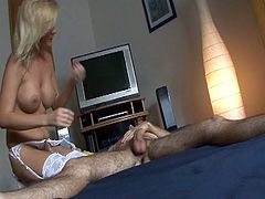 Blonde newbie getting fucked hard as she serves this hard cock inside her wet pussy after stripping off down her sexy stockings. She enjoys getting fucked by this man that she just met but she surely is perverted