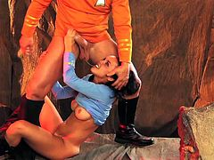 Tall experienced pornstar Evan stone with big stiff cock bangs black haired young Dillon Harper with round firm bum and nice hooters in kinky looking cave in provocative parody.