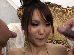 Filthy Japanese gir Miyu sucks two cocks deepthroat after getting toy fucked in MMF threesome