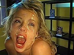 Wild blonde enjoys gang bang sex as well as warm cum splashing her face