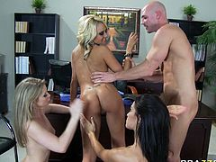 Ann Marie Rios, Briana Blair and Sunny Lane please Johnny Sins dick