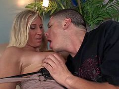 Cock loving skillful and experienced blonde milf Devon Lee with amazing body and big jaw dropping tits in tight slutty dress seduces young Alex Gonz and gets round ass licked.