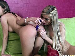 Watch them - two blonde hot babes playing with their pussy by poking their plastic dildos in their tight pussies in Brazzers Network sex clips.