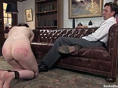 The office hours of perversion with a smoking hot secretary Amber Keen. Honey gets tied up and then Steve sticks his penis into her divine snatch!