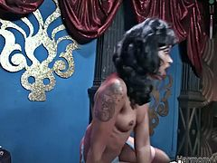 Dirty black hooker rides big black cock getting her butt hole stretched wide as fuck. Later on she gets banged missionary style. In the end of the session ebony girl gets fat facial cumshot.
