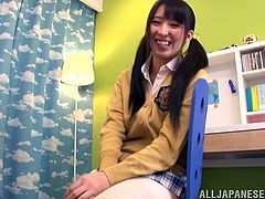 That school uniform makes this Asian slut look perfect and she love to rub her vagina and use some sex toys to make it more wet and slimy.