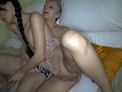 Watch this horny and super sexy brunette getting pleased by her old granny in the kitchen in Old Nanny sex clips.
