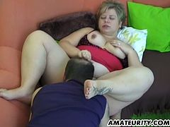 Chubby blonde amateur wife gives her hubby some head before he eats out her pussy and then starts drilling her her shave twat. Then he jacks off on her rolls of belly fat.