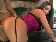Raylene is one smoking hot milf in pink bustier and black stockings. She shows her nice big boobs and ass as she gets her experienced pussy stuffed. Watch Raylene get fucked hard.