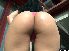 Samantha Pink is a lovely latina with big juicy ass and amazing titties. After deepthroating his massive cock she can't wait to take it into her wet pussy!