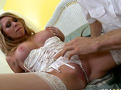 Bodacious bride shows off her big udders in front of her husband. Dude sucks her huge melons and polishes her delicious shave cunt with his fingers and tongue.