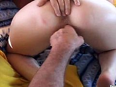 Sexy tattooed siren with big, bouncy tits gets her shaved pussy oiled and fingered, then sucks and takes a cock in her tight pussy, a finger in her ass, a cock in her mouth and a load on her tits!