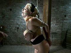 Adorable blonde girl strips her clothes off and gets tied up to the post. After that the guy also pinches her nipples and twists her big boobs with ropes.