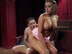 Check out this super hot blonde babe having fun with her dude at the cinema! Her pussy got licked and is ready for his big stiff meat!