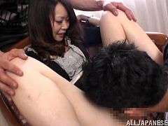 Get a load of this hot scene where a slutty Asian hottie get nailed by two guys in a threesome as the camera films.