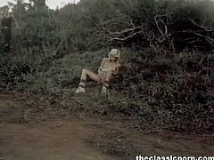 Watch this hot classic porn in which you will see this sexy blonde slim retro pornstar getting her tight pussy fucked from behind in the forest.Her lover fucks her hard till he cums on her ass.
