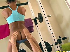Fit black beauty Staci Ellis is getting naughty with some guy in a gym. She allows the guy to stroke her amazing body and then they fuck in cowgirl, missionary and other positions.