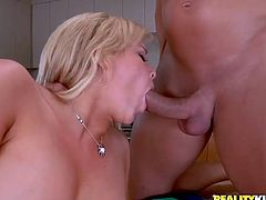 Emma Heart is a hot blonde with an amazing ass and big round tits. Take a look at this hardcore scene where this hot milf gets nailed by two large cocks in a threesome.