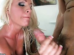 Blonde Sadie Swede shows her love for ram rod sucking