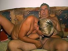 Time worn woman is playing with her loose pussy using smooth pink dildo. She then gives head to her sex partner. After she sucked small cock she gets her hairy clam licked by filthy daddy.