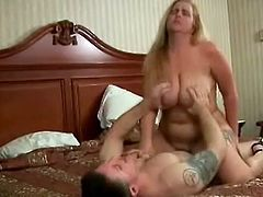 Charming plump blonde mom Devilz Candy admires some guy with her cock-sucking talent. Then she takes his boner into her snatch and gets it drilled in missionary position.