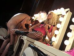 Kaylani Lei and Jessica Drake are ready to play rough. See them taking turns sucking and riding their man's dong while flaunting their sexy legs clad in fishnet stockings! They even find time for some lesbian games.
