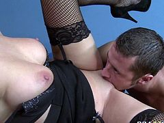 Stunning black haired chick in sexy lingerie Breanne Benson gets her shaved snatch eaten on the office table. Danny bends her over and fucks Breanne's tight cunt doggystyle.