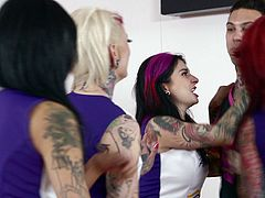 Burning Angel brings you an amazing free porn video where you can see how some vicious and tattooed punk teen sluts are ready to start an orgy while also going lesbo.