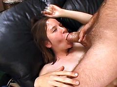 Brown-haired chick Kimmie shows her small ugly tits to some guy and favours him with a blowjob. Then she takes his weiner into her hairy twat and gets it banged doggy style and in missionary position.