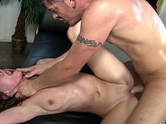 Press play on this hardcore scene and watch the horny Victoria Lawson having her pink pussy drilled by this guy's large cock until she's creampied.