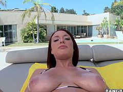 Appetizing brunette whore having huge saggy boobs teases masturbates near the pool. She takes off her shorts and tickles perky big clit with fingers.