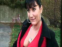 This brunette Czech accepts proposals when she hears about money. She shows her tits, pussy, sucks cock and then she gets fucked hard behind a house in a park. All for cash.