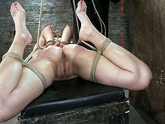 Rai DeGrey got that thick black BDSM tool called a strapon and she is going to staff her pussy, as soon as that dude suspends her in a hogtie!