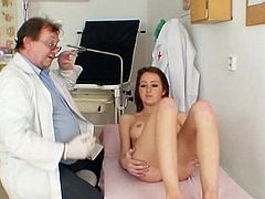 Young beauty bends her ass and lets horny doc to exam her fresh twat