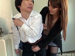 Gorgeous Japanese milf pees in the street and gets caught by some dude. The man promises that he won't tell this to anyone if she sucks and rides his hard prick.