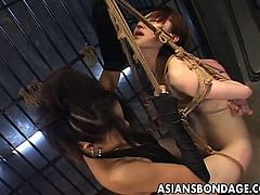 Japanese mistress fucks her slave with a strapon
