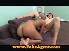 Threesome with a chubby girl and that blond sex doll